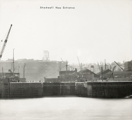 Thames Riverscape showing Shadwell New Entrance: 1937