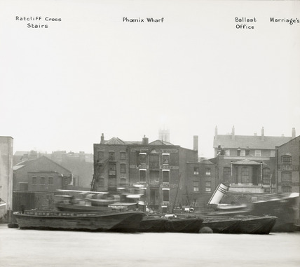 Thames Riverscape showing the Ratcliff Cross Stairs, Phoenix Wharf, the Ballast Office and Marriage's Wharf : 1937
