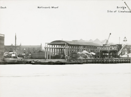 Thames Riverscape showing Mallinson's Wharf, Bridge Wharf and the site of Limehouse Upper Entrance: 1937