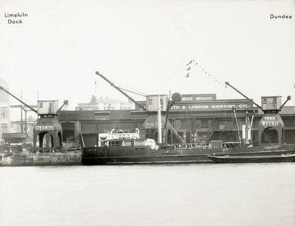 Thames Riverscape showing Limekiln Dock and Dundee Wharf; 1937