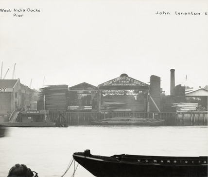 Thames Riverscape showing West India Docks Pier; 1937