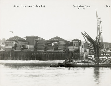 Thames Riverscape showing barge moored off Torrington Arms Stairs; 1937