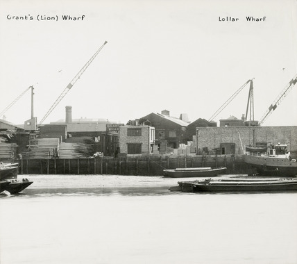 Thames Riverscape showing Grant's (Lion) Wharf and Lollar Wharf; 1937