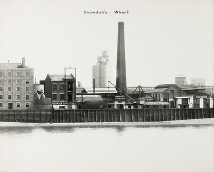 Thames Riverscape showing Snowdon's Wharf; 1937