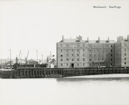 Thames Riverscape showing The Workmen's Dwellings Millwall Dock: 1937