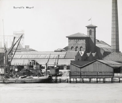 Thames Riverscape showing Burrell's Wharf: 1937