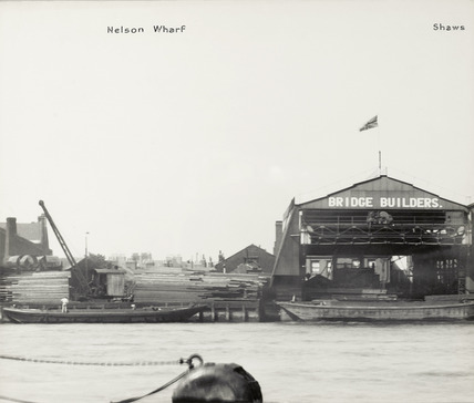 Thames Riverscape showing Nelson Wharf and Shaw's Wharf: 1937