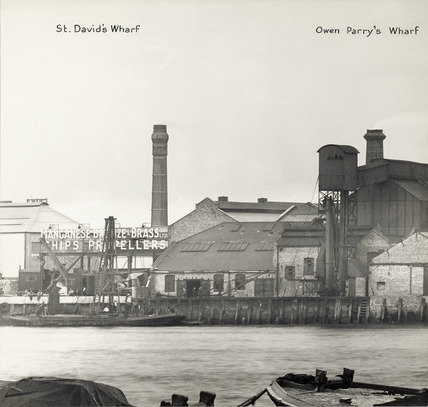 Thames Riverscape showing St. David's Wharf and Owen Perry's Wharf: 1937