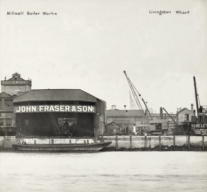 Thames Riverscape showing Millwall Boiler Works and Livingston Wharf: 1937