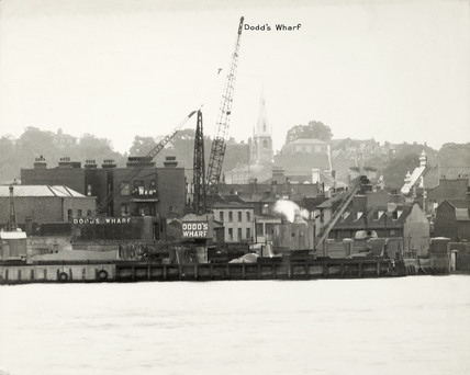 Thames Riverscape showing Dodd's Wharf: 1937