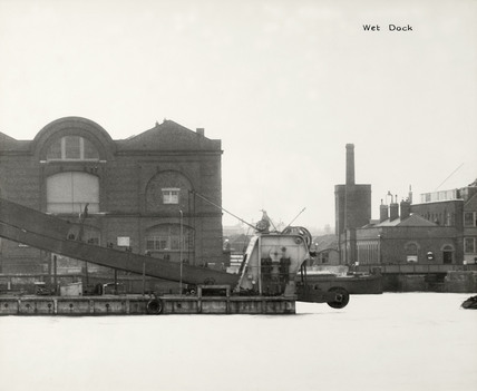 Thames Riverscape showing the Wet Dock in the the Admirality's Royal Victoria Victualilng Yard: 1937