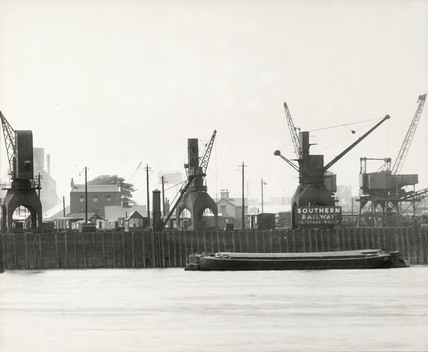 Thames Riverscape showing Deptford Wharf Deadman's Dock: 1937