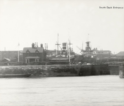 Thames Riverscape showing South Dock Entrance Lock: 1937