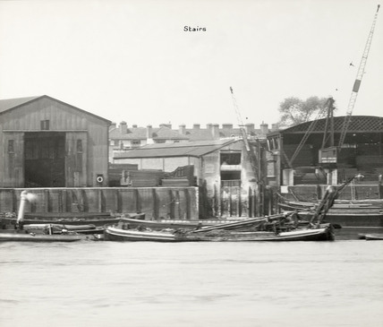 Thames Riverscape showing Greenland Sheds, Stairs and Redriff Wharf: 1937