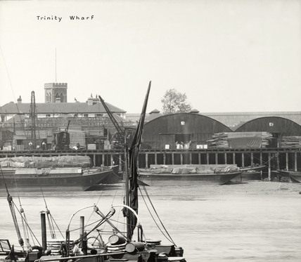 Thames Riverscape showing Trinity Wharf: 1937
