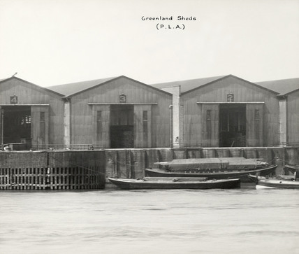 Thames Riverscape showing Greenland Dock's Sheds: 1937