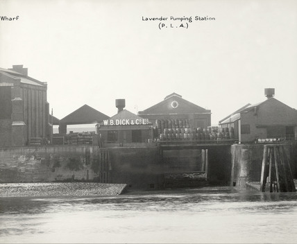 Thames Riverscape showing Pageant Wharf and the Lavender Pumping Station : 1937
