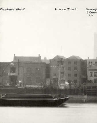Thames Riverscape showing Claydon's Wharf, Grice's Wharf and the SpreadEagle and crown Public House:1937