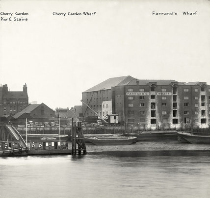 Thames Riverscape showing Cherry Garden Wharf and Farrand's Wharf: 1937