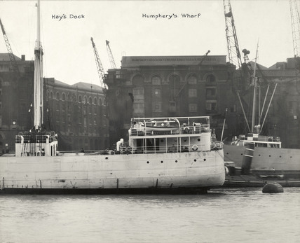 Thames Riverscape showing Hay's Dock and Humphery's Wharf: 1937