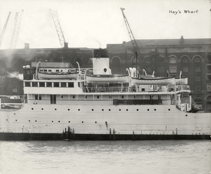 Thames Riverscape showing Hay's Wharf: 1937