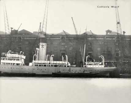 Thames Riverscape showing Cotton's Wharf: 1937