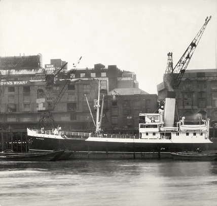Thames Riverscape showing Mark Brown's Wharf: 1937
