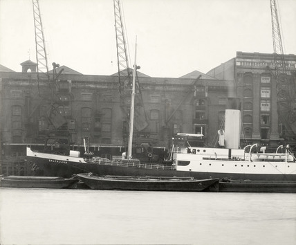 Thames Riverscape showing part of Chamberlain's Wharf: 1937