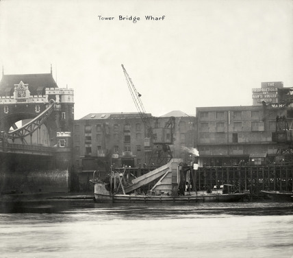 Thames Riverscape showing Tower Bridge Wharf: 1937