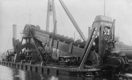 Steam powered bucket dredger: c. 1920