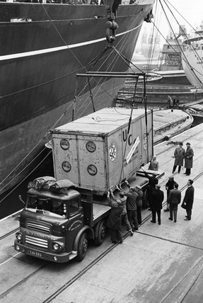 An experimental container arrives from Australia: 1966