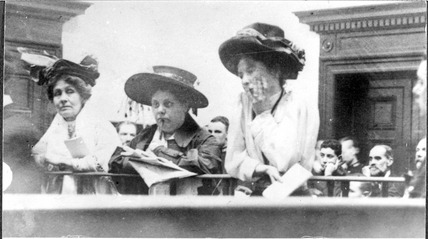 Emmeline and Christabel Pankhurst with Flora Drummond in the Dock at Bow Street court, October 1908.