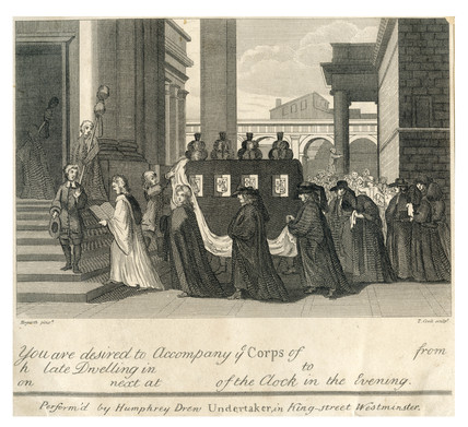 An Illustrated, printed invitation to a funeral procession 1801-1900