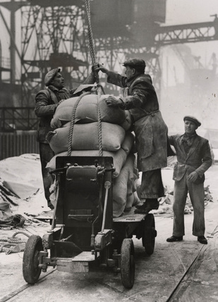 Dockers loading flour: 1945
