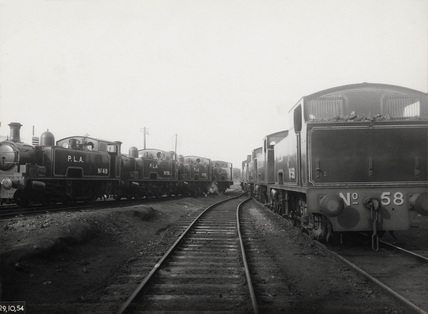 PLA locomotives at Royal Docks: 1954