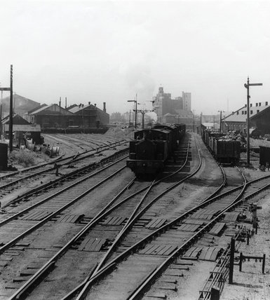 Train at Royal Victoria Dock: 1949