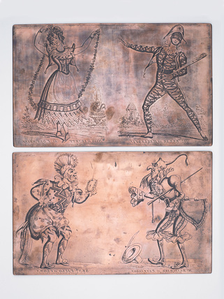 Copper printing plates of theatrical portraits: c.1830