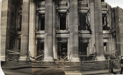 Bomb damaged facade of Trinity Sqare: 1940