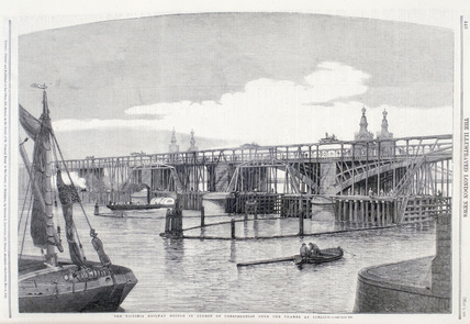 The Victoria Railway Bridge under construction: 1860