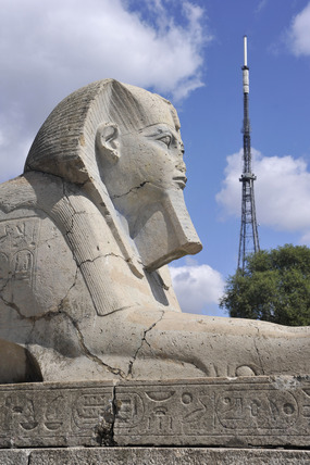 A view of an Egyptian Sphinx and the television transmitter in Crystal Palace Park; 2009