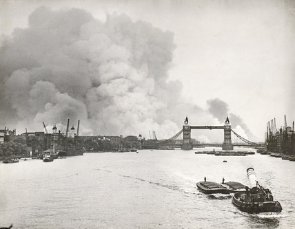 Docklands on fire after a heavy night's bombing; 1940