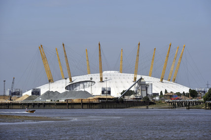 The O2 Arena or Millennium Dome from the River Thames; 2005