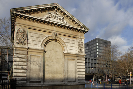 A Portland stone entrance lodge, Euston Station; 2008