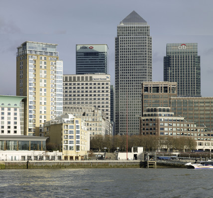 Canary Wharf from the River Thames; 2007