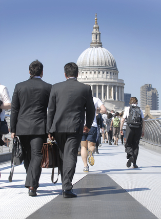 Workers crossing the Millennium Bridge to St. Pauls; 2008