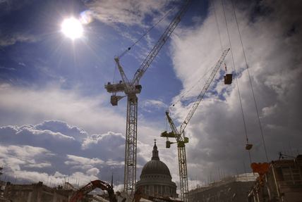 View of cranes over St. Pauls; 2009