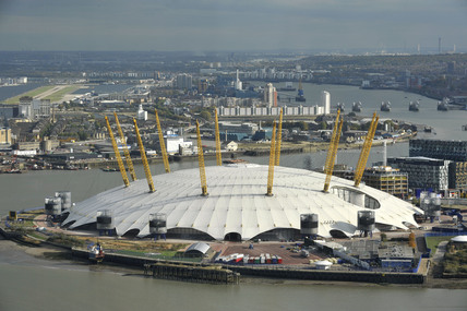 The O2 Arena Or Millennium Dome With London City Airport