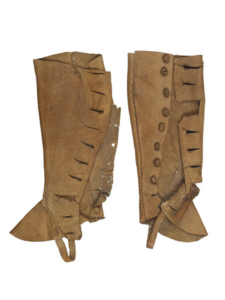 Pair of leather gaiters for artist's lay figure: 18th century