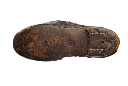 One of a pair of black leather shoes for artist's lay figure: 18th century