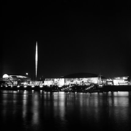 Floodlit view of the Southbank during the Festival of Britain: 1951